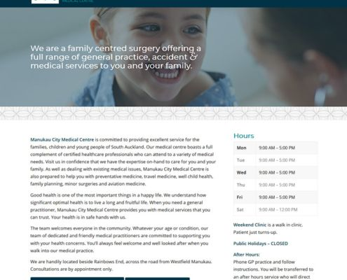 manukau city medical website design