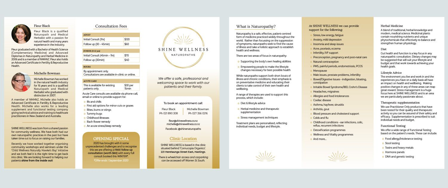 Shine Wellness Naturopath Flyer Design NZ