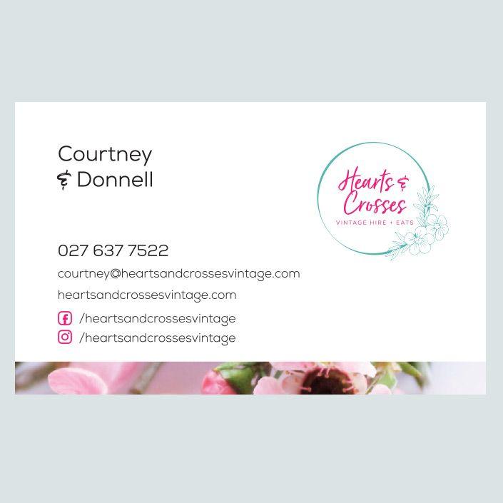 Hearts & Crosses Wedding Business Card Design